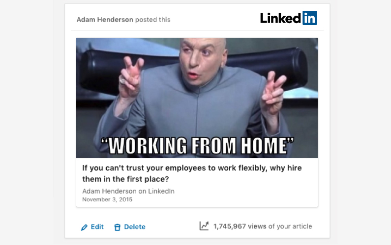 Adam's article on flexible working exceeds 1.7 million views!